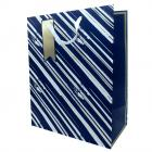 Gift Bag Blue & Gold Stripes Extra Large