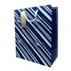 Gift Bag Blue & Gold Stripes Large