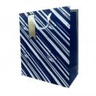 Gift Bag Blue & Gold Stripes Medium