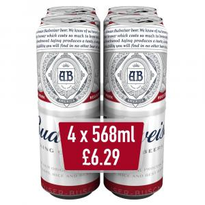 Budweiser Lager Beer Bottles PMP £6.29