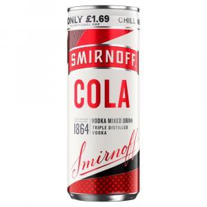 Smirnoff Vodka With Cola 250ml Can PM £1.69